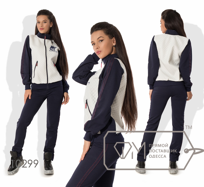 Спорткостюм из двунитки - олимпийка на основе стёганой экокожи с воротом-стойкой и полосами на рукаве плюс приталенные штаны 10299