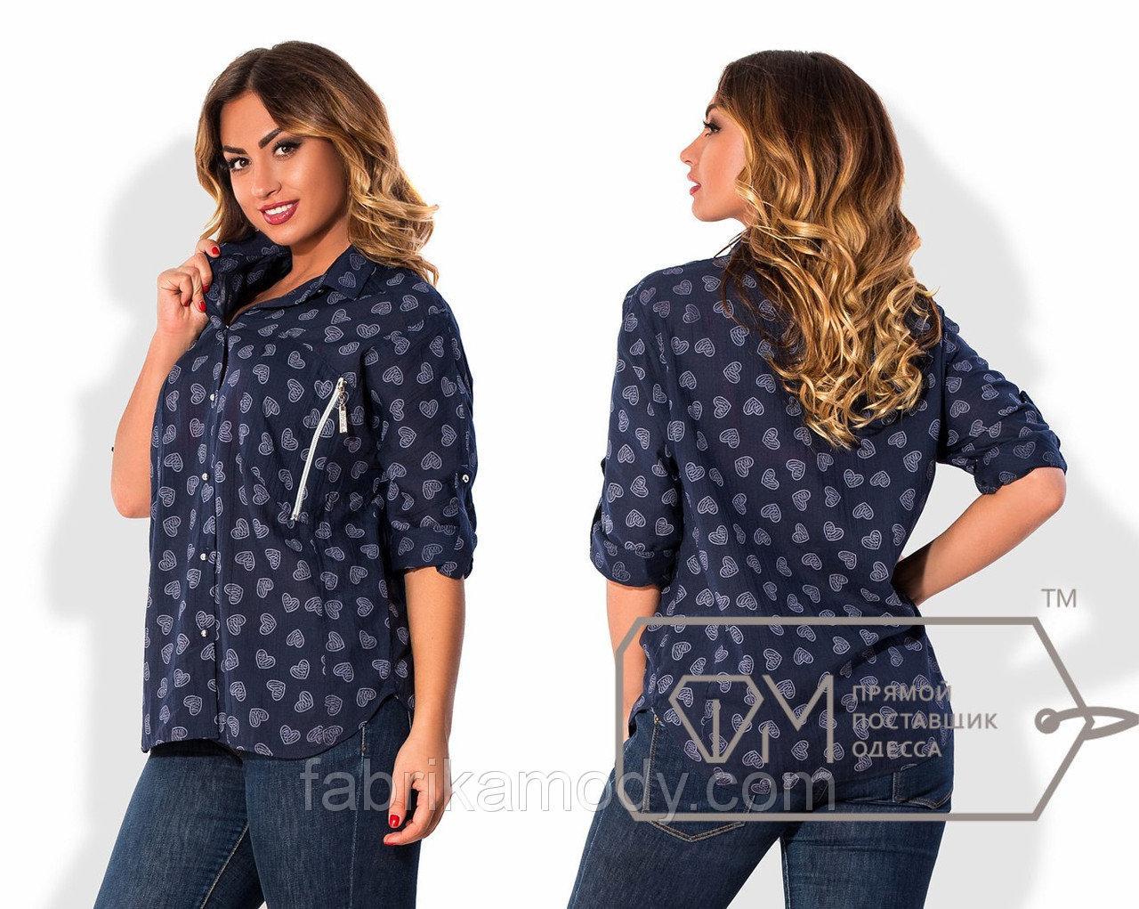 Рубашка свободная из батиста с рукавами на патиках и нагрудными карманами на молниях X5101