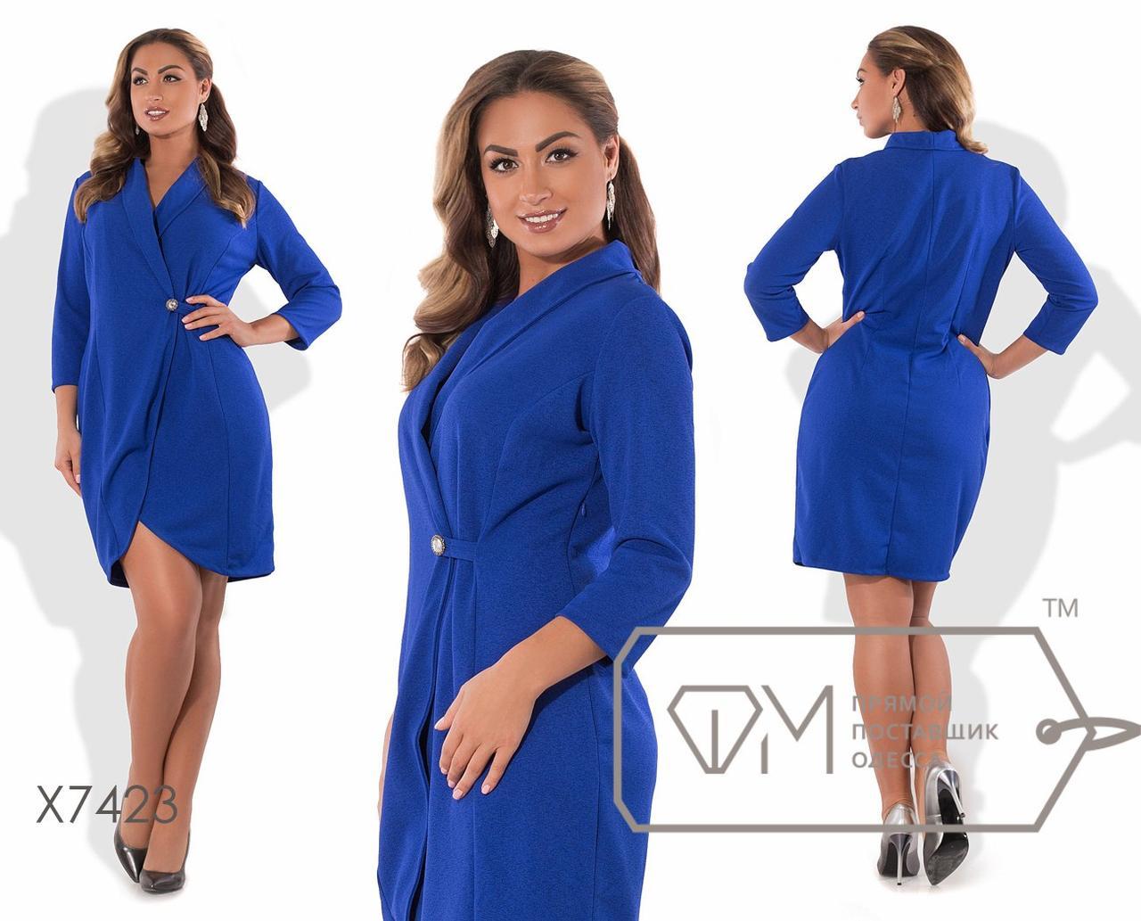 Платье-пальто из креп-дайвинга с эффектом запаха на пуговице с хлястиком, закруглёнными полами, рукавами 3/4 и воротником-шалькой X7423
