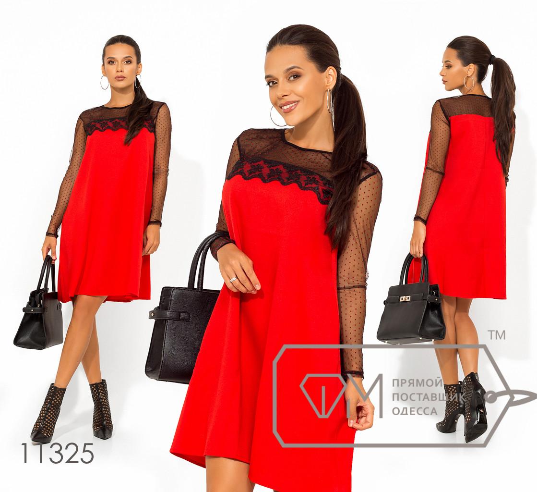 Платье-мини покроя трапеция из ткани креп-костюмка комбинированное сеткой-горох на рукавах и плечах 11325