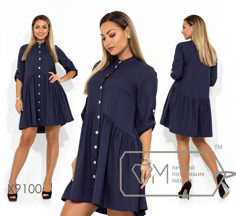 Платье-мини из ткани креп-костюмка со шлейфом воротником под горло драпировкой на юбке рукавами 7/8 на патиках и застежкой по всей длине X9100