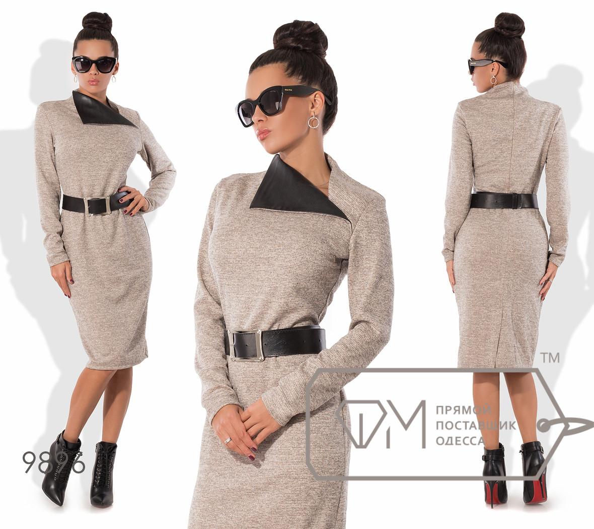 Платье-футляр миди облегающее из трикотажа с люрексом со шлицей, асимметричным воротом-апаш из экокожи и кожаным поясом в комплекте 9896