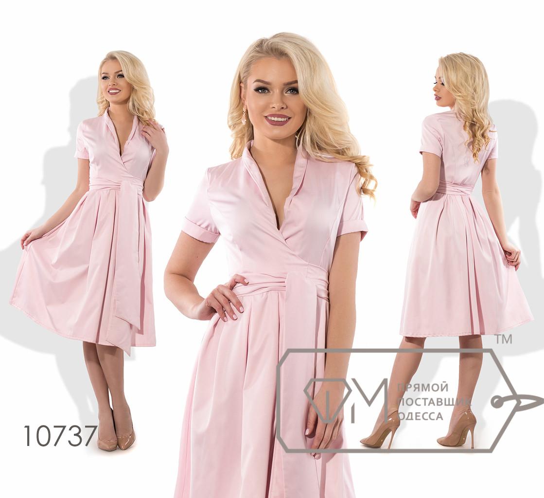Платье-миди на запах из полированного коттона, с коротким рукавом 10737