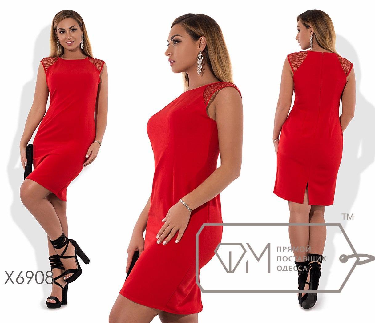 Платье-футляр мини приталенное из костюмки без рукавов с прозрачными плечиками-реглан из сетки X6908