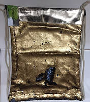 Мешок для обуви 13795 с пайетками (Матовое Золото -Матовый Черный) 42х32см уп12