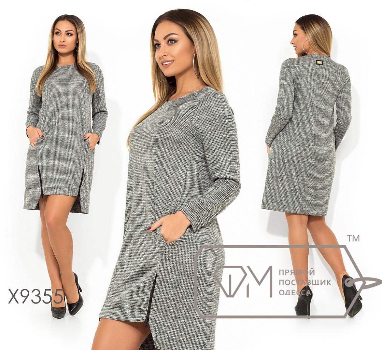 Платье-мини прямого кроя с круглым вырезом, длинными рукавами, косыми карманами и двумя молниями по лицевой стороне на асимметричном подоле X9355