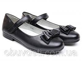 Качественные туфли черного цвета с бантиком для девочки clibee