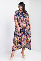 Красивое женское платье с цветочным принтом синее