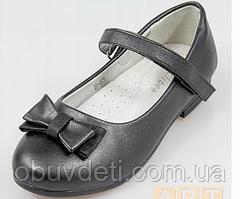 Туфли черного цвета с бантиком для девочки clibee 36 - 23 см