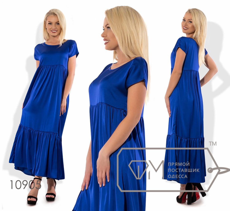 Платье-миди прямого кроя из шелка с ювелирным вырезом коротким рукавом высокой талией присборенной юбкой и широким воланом на подоле 10905