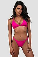 Купальник раздельный , бикини , плавки на регуляторах ,треугольная чашка, ярко розового неонового цвета, фото 1