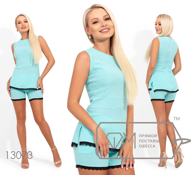 Костюм с шортами и кружевной отделкой, блуза приталенная по лифу, шорты на резинке 13073