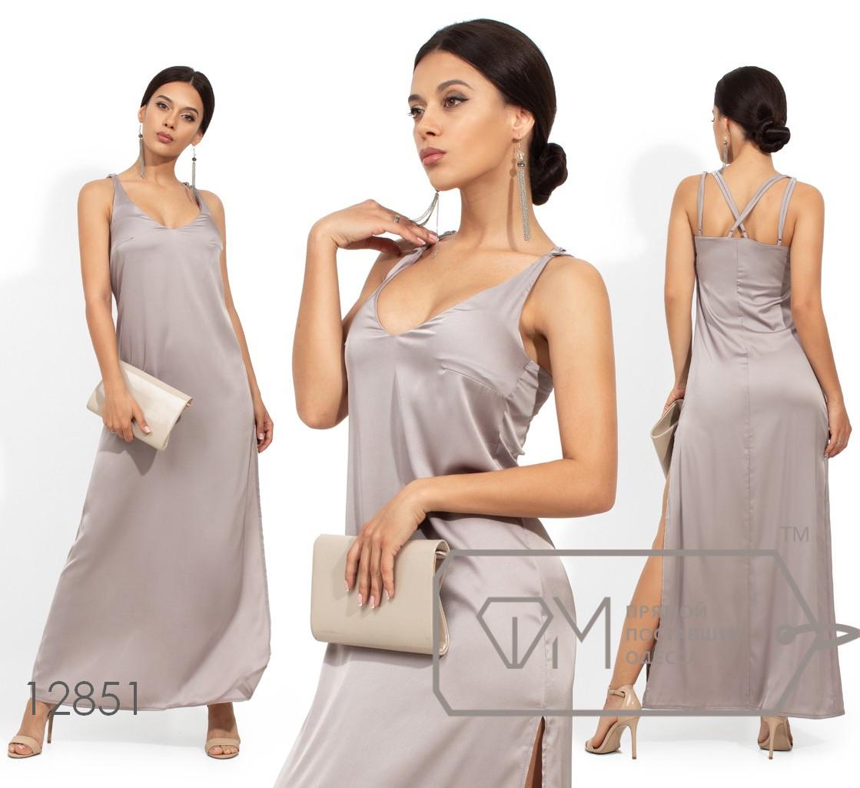 Шелковое длинное платье на бретелях с высоким боковым разрезом 12851