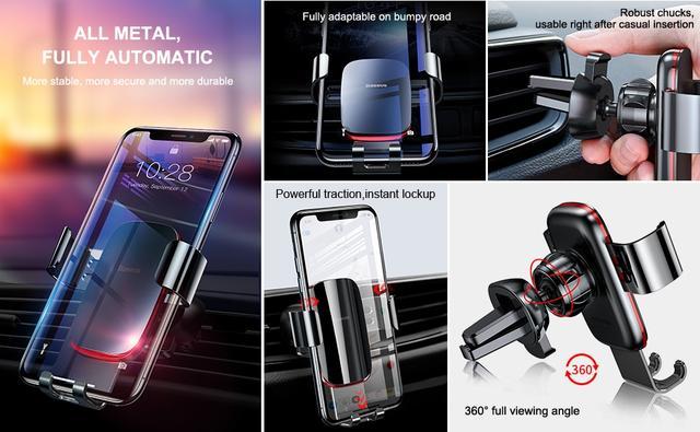 Универсальный автодержатель Baseus Metal Age Gravity Air Outlet Version SUYL-D01 SUYL-D0S Черный Сребристый
