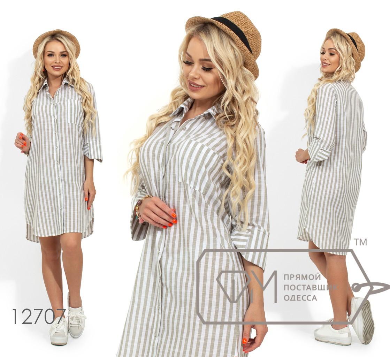 Платье-рубашка в полоску из тонкого коттона с застежкой по всей длине, рукавами 3/4 и закругленным подолом 12707