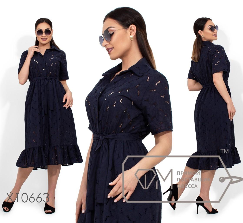 Платье-миди с короткими рукавами застежкой вдоль прозрачного лифа, съемным поясом по отрезной талии и оборкой на подоле (юбка с подкладом) X10663