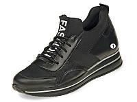 Туфли (кроссовки) черные женские из натуральной кожи MIDA 210161(1)