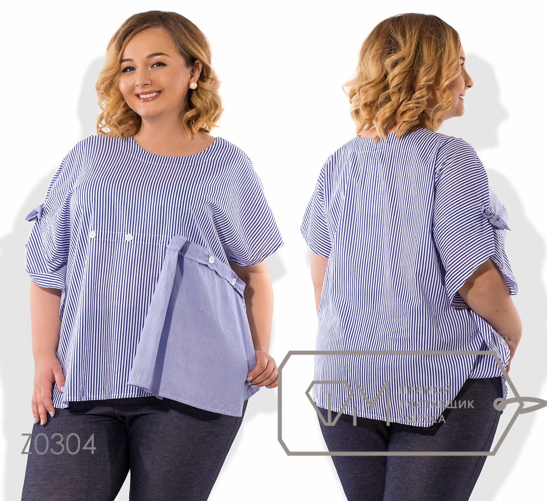 Рубашка прямого кроя из коттона с коротким рукавом реглан ювелирным вырезом и декоративным элементом сбоку на лицевой стороне Z0304