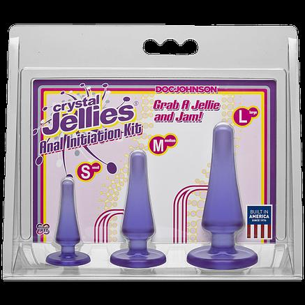 Набор анальных пробок Doc Johnson Crystal Jellies Anal Initiation Kit - Purple, фото 2