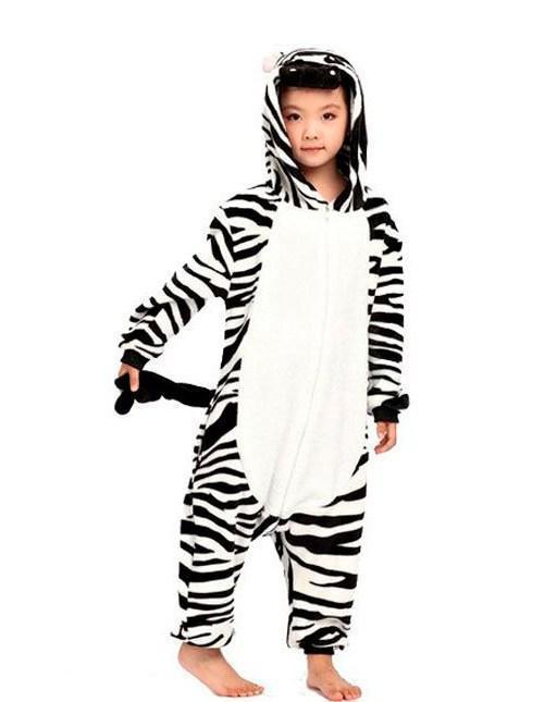 Детский кигуруми зебра черно-белая kmu0036