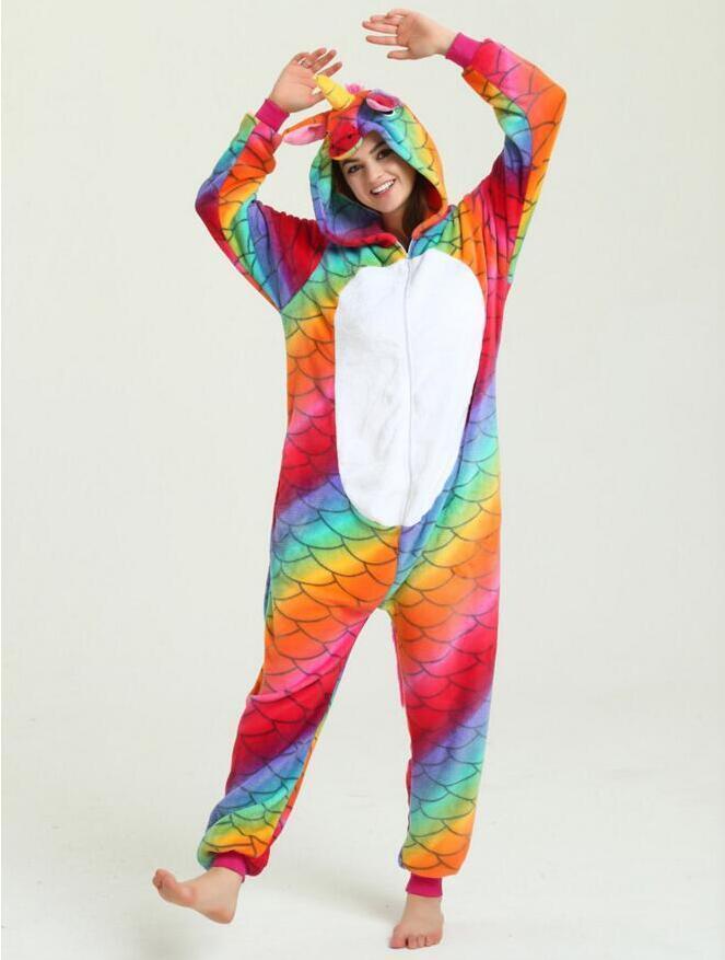 Кигуруми разноцветный единорог чешуя пижама krd0063