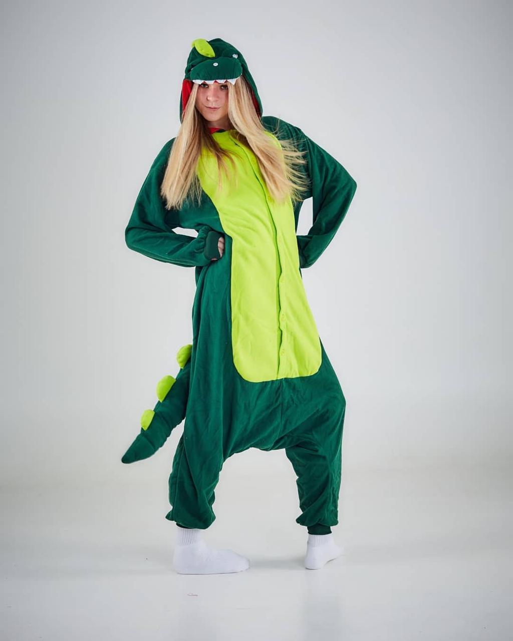 Кигуруми костюм зеленый дракон взрослый kmu0025