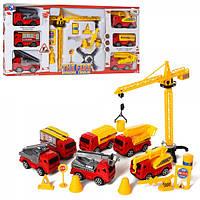 """Набор машинок """"Fire Protection"""" 9042, инер-й, машинки 6шт(пожарные), кран"""