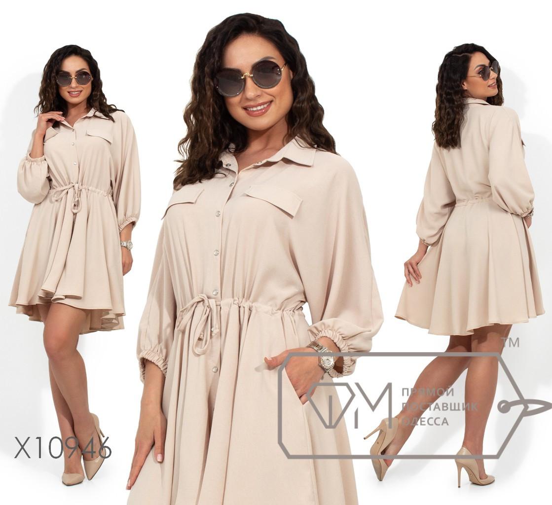 Платье-миди с цельнокроенным верхом, застежкой на пуговицах по всей длине, кулиской по талии, рукавами 3/4 на резинке и асимметричным подолом X10946