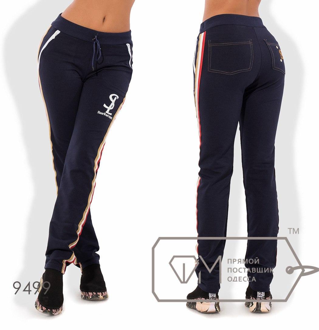 Спортивные брюки приталенные из двунитки покроя 4 кармана на кулиске с контрастными лампасами и стразами 9499