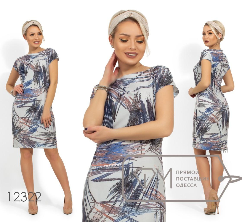 Платье-мини прямого кроя из принтованной вискозы с рукавами на пол-проймы и круглым вырезом 12322