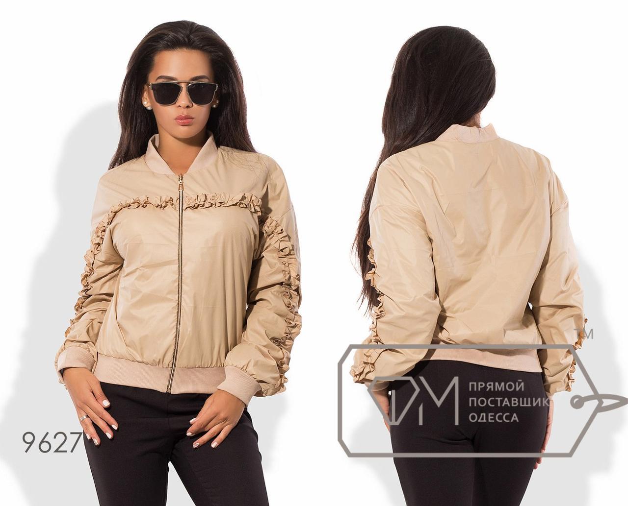 Куртка-бомбер из плащёвки на флисе с манжетами, застёжкой-молнией и отделкой переда мелкой двусторонней оборкой 9627