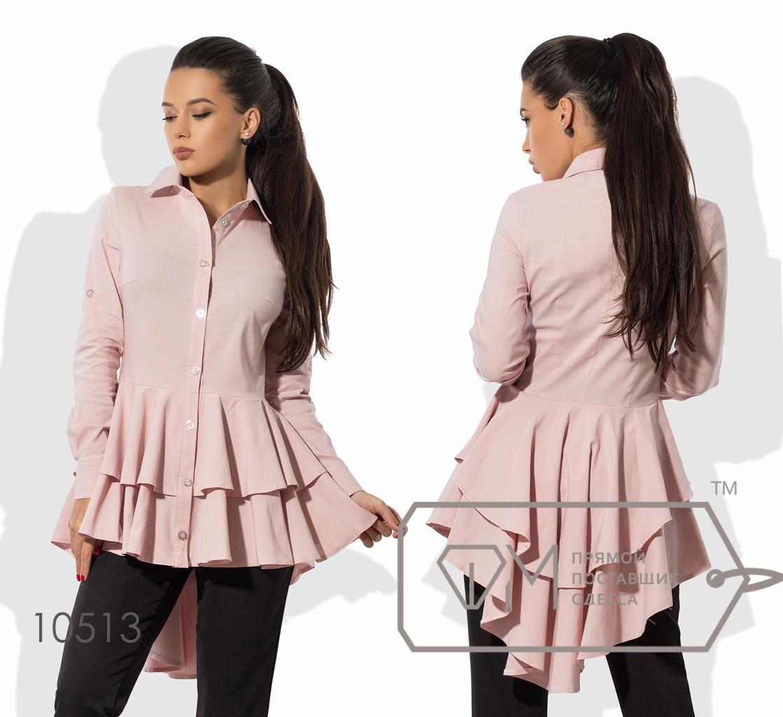 Рубашка бэби-долл приталенная из бенгалина с длинными рукавами и двойной асимметричной оборкой-шлейфом от талии 10513