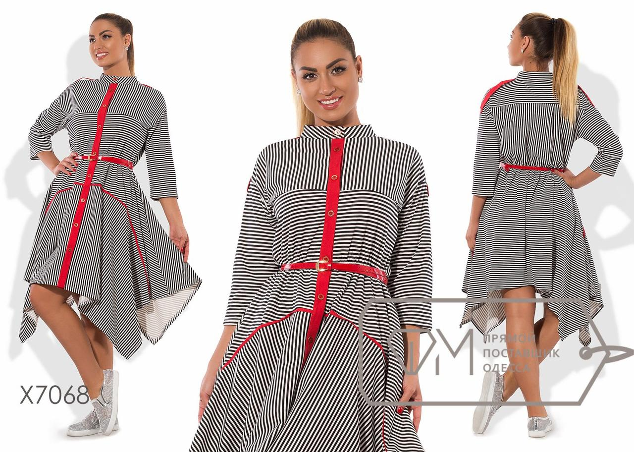 Платье-рубашка А-покроя из франц.трикотажа с разноуровневым подолом, яркой планкой, погонами и поясом X7068