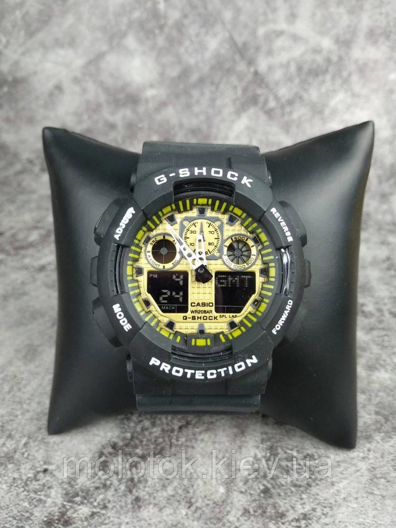 Мужские наручные спортивные часы G-Shock серые с желтым Реплика отличного качества