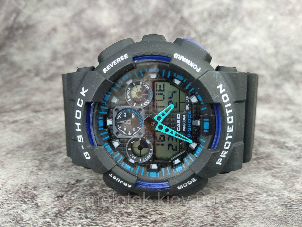 Мужские наручные спортивные часы G-Shock серые с синим Реплика отличного качества