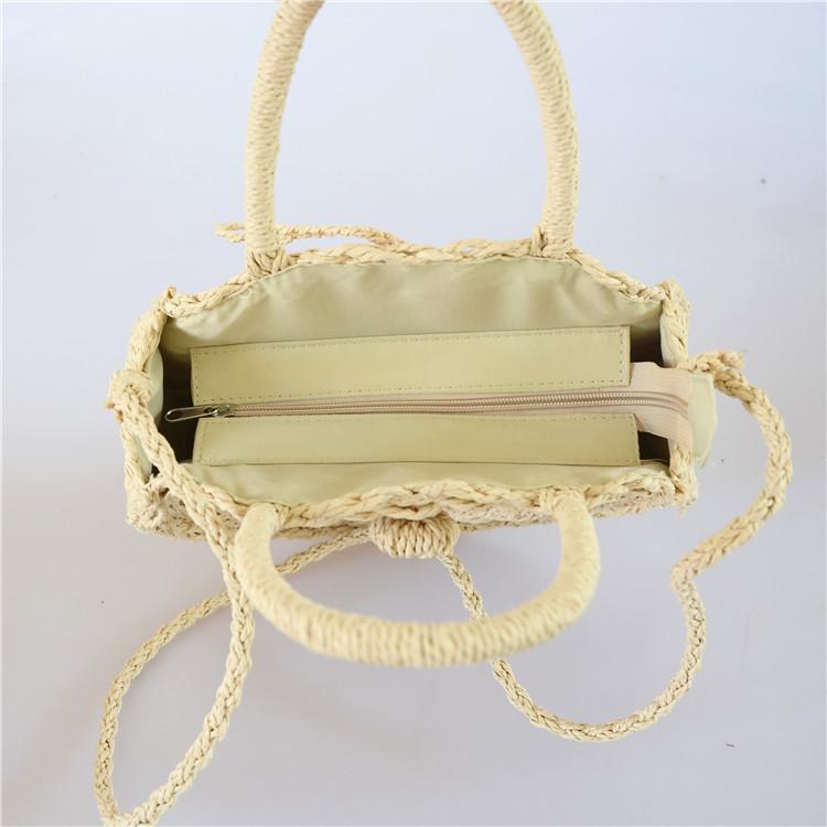 Женская круглая плетеная сумочка с ручками бежевого цвета, фото 2