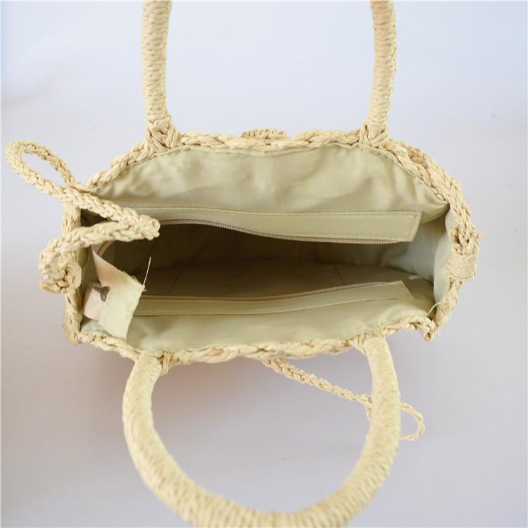 Женская круглая плетеная сумочка с ручками бежевого цвета, фото 3