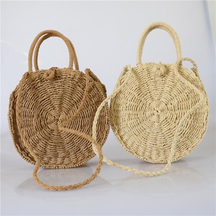 Женская круглая плетеная сумочка с ручками коричневого цвета, фото 3