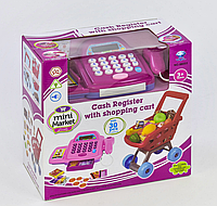 Игровой набор Acor Кассовый аппарат с Продуктовой тележкой Розовый (1148-04)