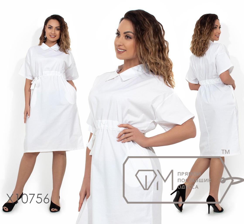 Платье-миди цельнокроенное с рубашечным воротником, прорезными карманами и регулируемым несъемным поясом X10756