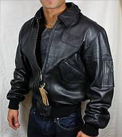 Оригинальная кожаная лётная куртка CWU 45/P Alpha Industries, США (черная)
