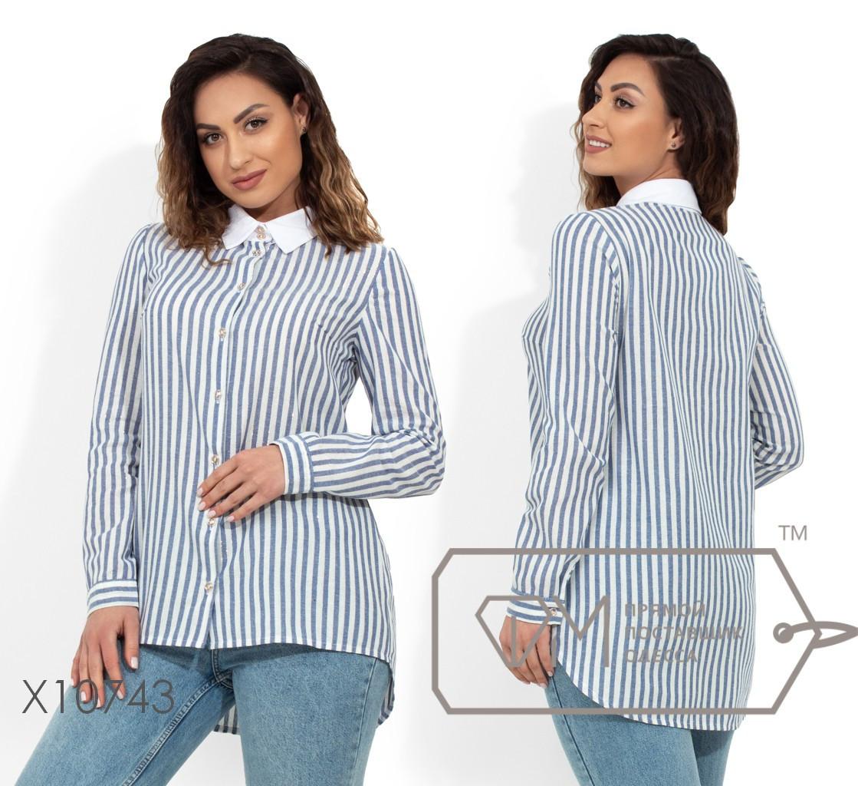 Рубашка-фрак из льна с воротником-стойка и застежкой на пуговицах по всей длине X10743
