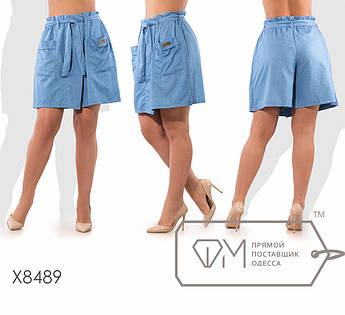 Шорты приталенные из летнего джинса средней посадки с передней двойной юбкой на запах с карманами под пояс X8489