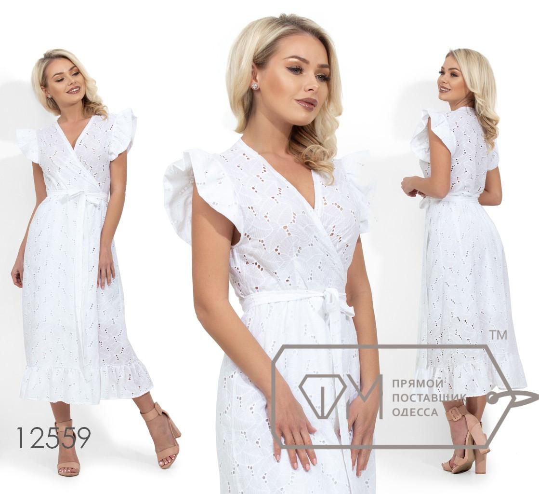 Платье на запах из ткани прошва с прозрачным лифом, отрезной талией и подъюбником 12559