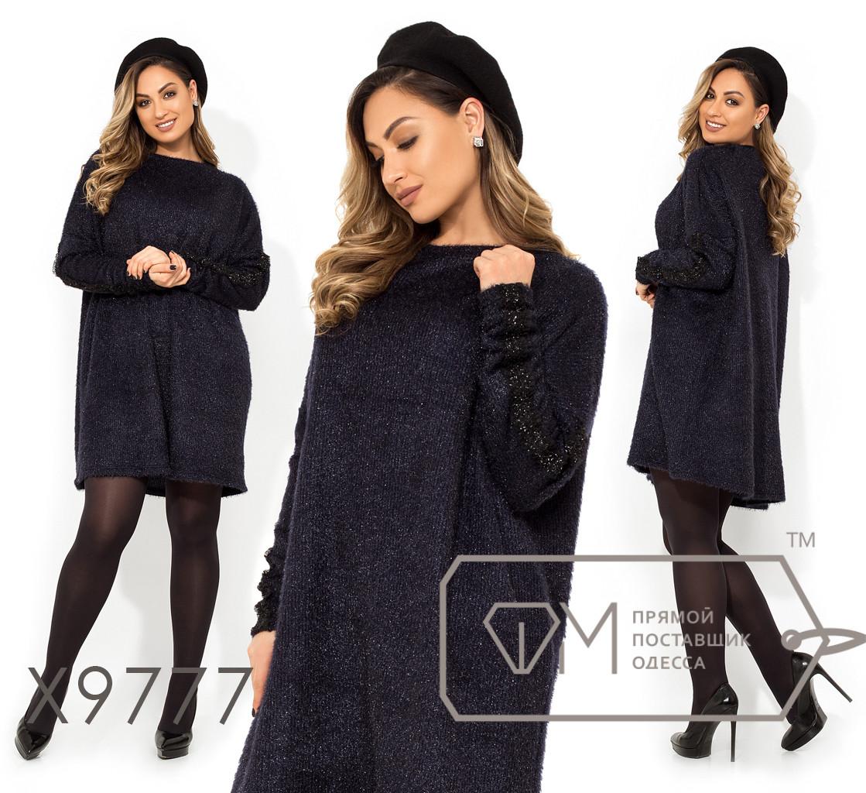 Платье-мешок из вязки-люрекс до колена с круглым вырезом и низко втачным рукавом X9777