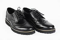 """Мужские туфли броги классические черные из натуральной кожи на высокой подошве АРТ """"Оникс"""", фото 1"""