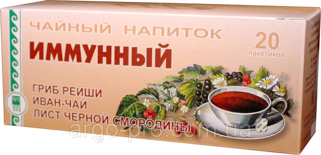Фито чай Иммунный Арго, гриб рейши, кипрей иван чай, лист смородины, иммунитет, вирусы, атеросклероз, давление
