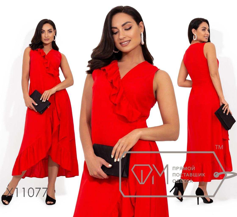 Платье из льна на запах с оборкой X11077