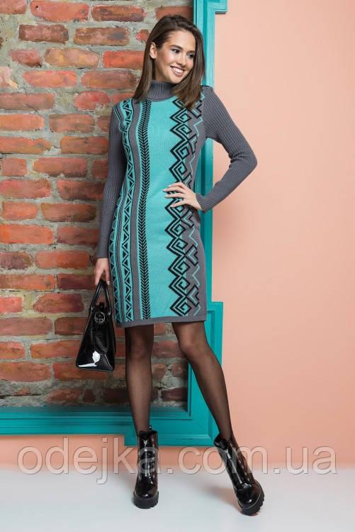 Платье-туника Корица 1279  графит - мята - черный