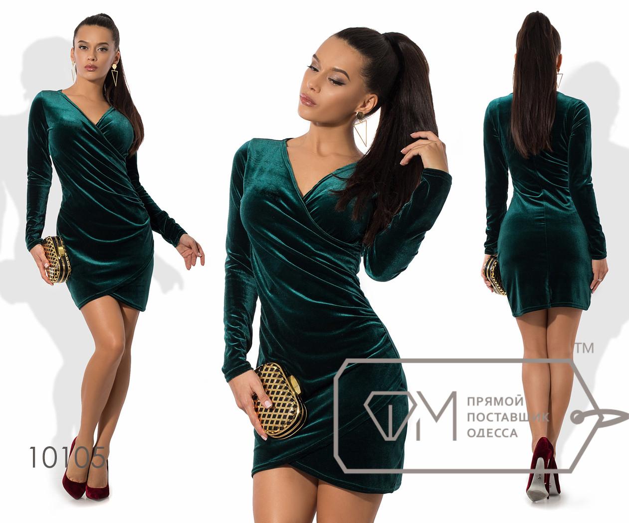 Платье-футляр мини облегающее из бархата с длинными зауженными рукавами, V-вырезом и эффектом присобранного набок запаха 10105